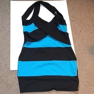 Dot's blue and black striped bodycon dress